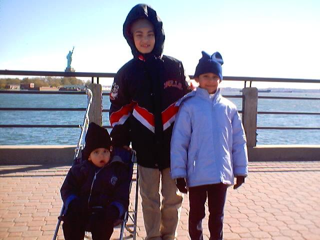Kids near Statue of Liberty