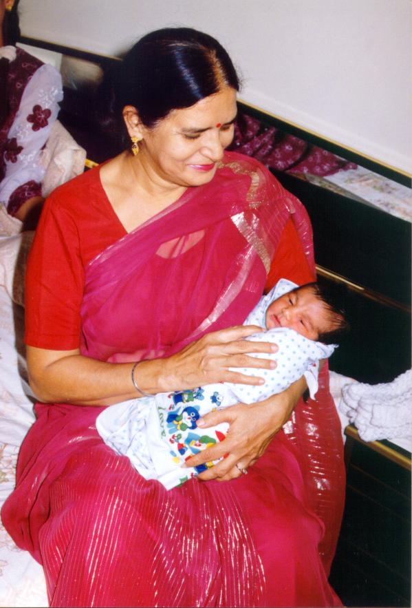Mummyji and one day old baby Raunak